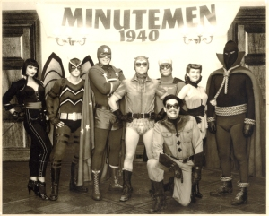 The Nearly all-Canadian MINUTEMEN: Appolovia Vanova/Silhouette, Niall Matter/Mothman, Dan Payne/Dollar Bill, Clint Carleton/Nite Owl I, Darryl Scheelar/Captain Metropolis and Glenn Ennis/Hooded Justice along with American actors Carla Gugino/Silk Spectre I and Jeffrey Dean Morgan/The Comedian.