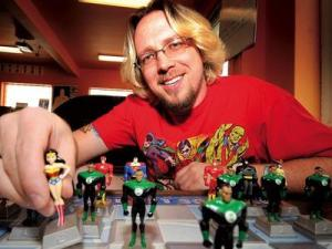 HEre is Jay Bardyla with a neat supes tee and a whack of sweet Heroclix.  Photo by Candice Ward/For Metro Edmonton