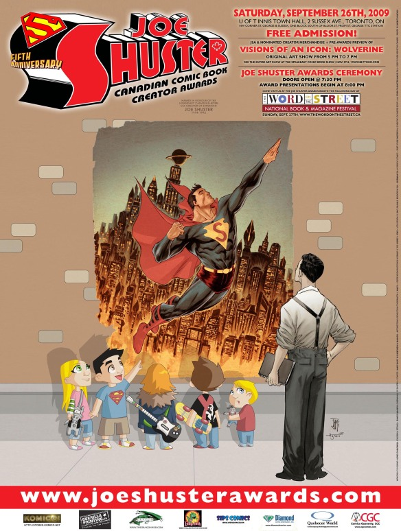 The 2009 poster features artwork by Francis Manapul and Agnes Garbowska. Logo designed by Dave Sim and Tyrone Biljan, with additions by Robert Lewis.