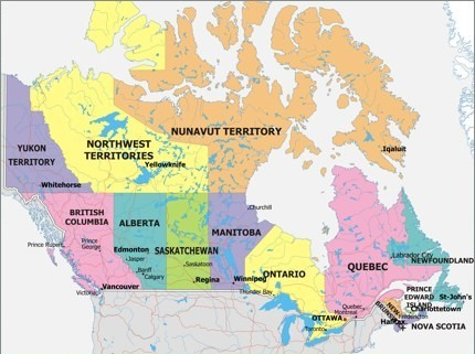 Some Geographical Perspective For Americans On Canadian Locations - Us map with canada border