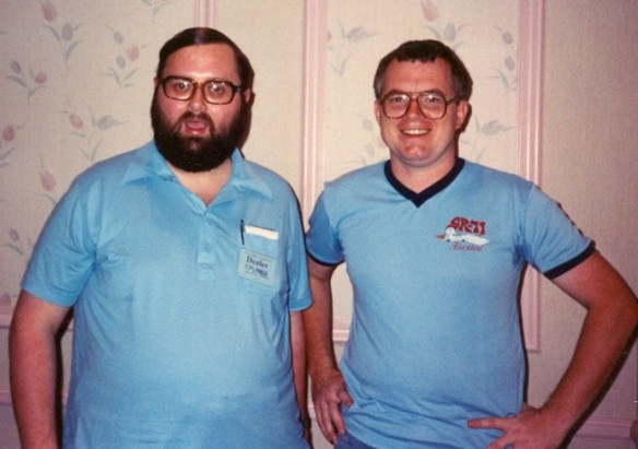 The only known photo of Jim Burke (left), taken with friend Russ Maheras at the 1988 Chicago Comic-Con. Burke was at the show promoting his comic, Captain Optimism.